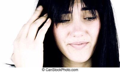 Woman feeling pain for headache
