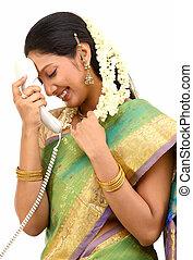 woman feeling shy on phone