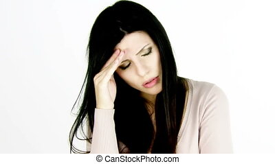 Woman feeling sick for headache