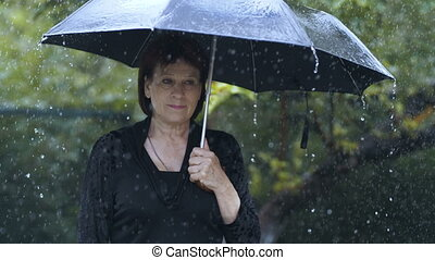 Woman feeling sorrow - Sad woman under umbrella at heavy...