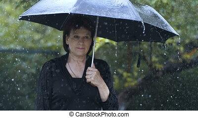 Woman feeling sorrow - Sad woman under umbrella at heavy...