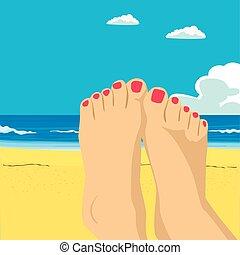 Woman feet closeup. Girl relaxing on beach on sunbed enjoying sun on sunny summer day. Vacation holidays.