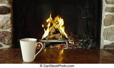 Woman feet relaxing mug fireplace warming winter holiday -...