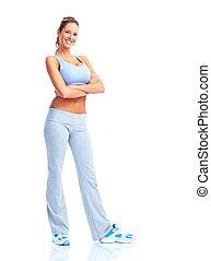 woman., feliz, condicão física