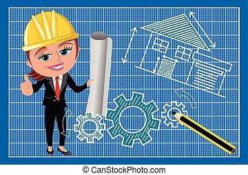 Woman Female Architect Thumb Up Blueprint