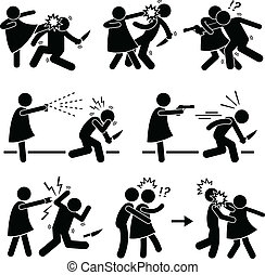 A set of pictograms representing a woman self defending against bad people with different type of methods.