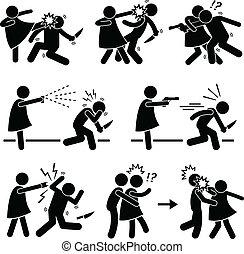 Woman Female Girl Self Defense - A set of pictograms ...