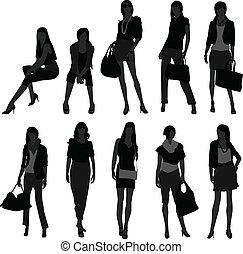 Woman Female Girl Shopping Model - A set of women in...