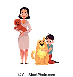 Woman, female veterinarian doctor, vet and little boy with dogs