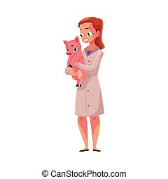Woman, female veterinarian doctor, vet in medical coat holding pig