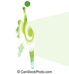 Woman female volleyball player silhouette vector background colorful concept