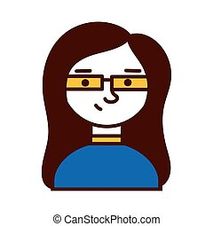 woman female with eyeglasses avatar character