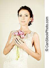 Woman fiancee in vintage dress