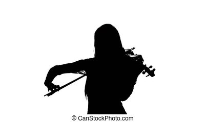 Woman fiddler playing the viola. Silhouette - Professional...