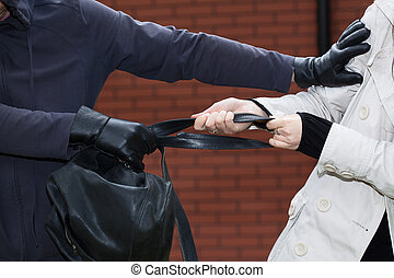 Woman fighting with a robber