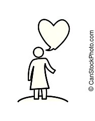 woman figure silhouette with heart