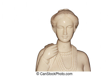 Woman figurines on a white background.