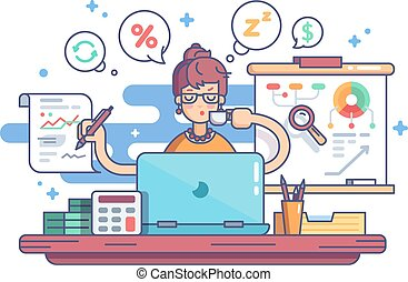 Woman accountant doing financial reports at workplace. Vector illustration