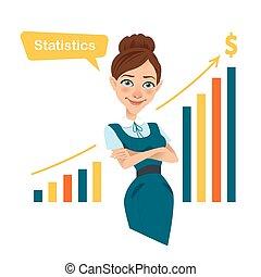 Woman financier standing near profit growth chart. Beau -...