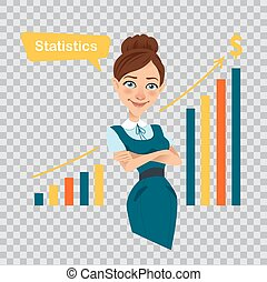 Woman financier standing near profit growth chart. Beautiful...