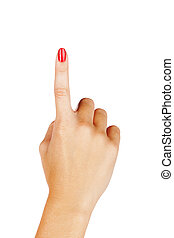 woman finger pointing - close-up of woman's hand with red...