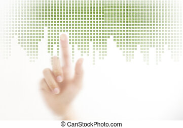 woman finger pressing on touch screen, technology concept