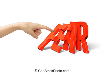 Woman finger pushing domino of red fear word falling
