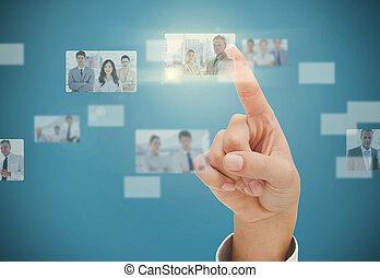 Woman finger selecting digital