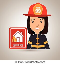 woman fire house icon
