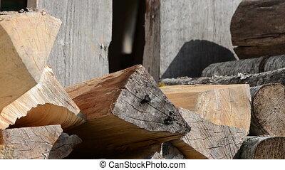 woman firewood chop