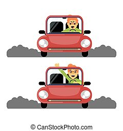 Woman first time behind the wheel of the red car. Caricature...