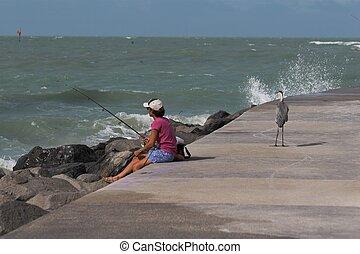 woman fishing & bird - woman fishing on local pier in ...