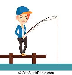 Woman fishing on jetty vector illustration.
