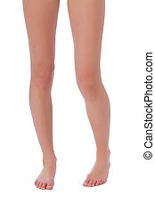 Woman fit legs on white background