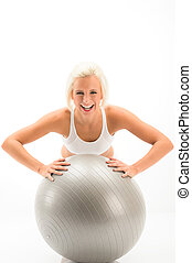 Woman fitness ball exercise on white background