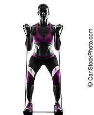 woman fitness resistance bands silhouette - one caucasian...
