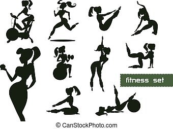 Woman fitness set. Vector illustration isolated on a white...