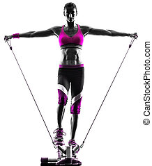 woman fitness stepper resistance bands exercises - one...