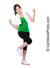 happy attractive asian woman fitness model portrait on white background