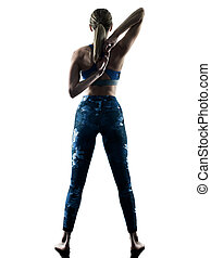 woman fitness Stretching excercises silhouette