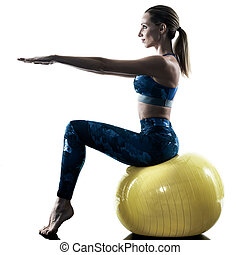 woman fitness swiss ball excercises silhouette - one...