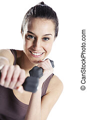 Woman fitness with dumbbells isolated on white