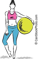 woman fitness with yoga balloon