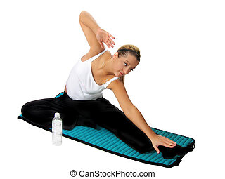 Woman Fitness - Young woman working out on mat
