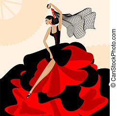 woman flamenco - on abstract background is Spanish dancer in...