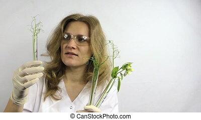 woman flask plant