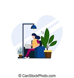 woman flat design Work from home illustration concepts, stay at home for prevention measures from corona virus