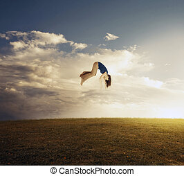 Woman floating to sky.
