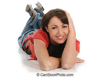 Woman Floor Smile - Beautiful young woman in casual clothes...