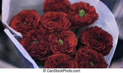 Woman florist holding a beautiful bouquet of dark red roses, tilt up